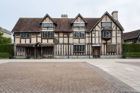 STRATFORD-UPON-AVON, WARWICKSHIRE, ENGLAND - MAY 27, 2018: The Birthplace of William Shakespeare on Henley Street in Stratford upon Avon, Warwickshire, England, UK