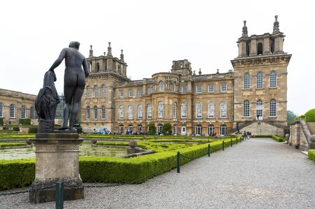 BLENHEIM PALACE, WOODSTOCK, UK - MAY 28, 2018: Blenheim Palace and Water Gardens, the birthplace of Winston Churchill and residence of the dukes of Marlborough, is a UNESCO World Heritage Site - UK