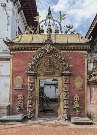 Ancient Royal Palace and Golden Gate on Durbar square in Bhaktapur Nepal Zdjęcie Seryjne