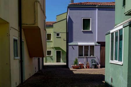 Little square in Mazzorbo, a colorful Venetian island near Burano