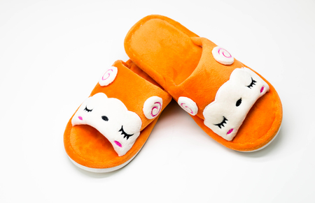 comfort: sleepy face of cartoon slippers show the lovely, soft and comfort Stock Photo