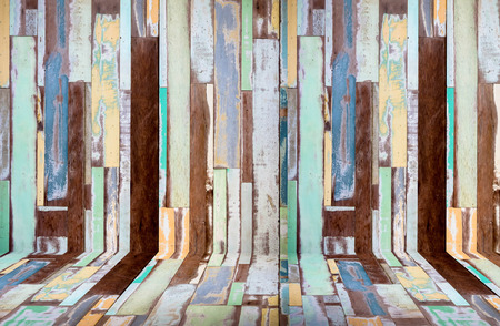 on wood floor: perspective retro wood background and floor Stock Photo