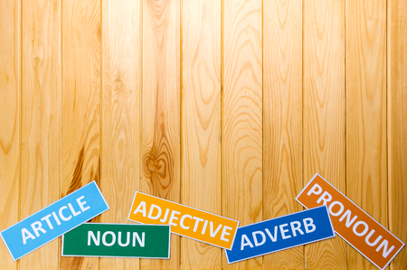 adjective: brown wooden board with english words for background Stock Photo