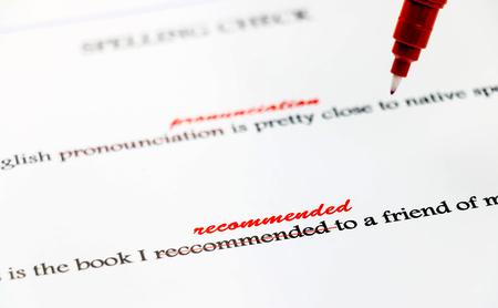 correction: closeup english misspelling words correction Stock Photo
