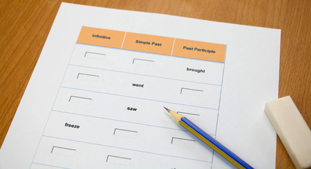 represent: english exercise and pencil on table represent testing english grammar Stock Photo