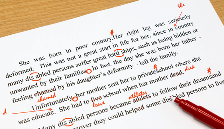 english proofreading sheet with red marks 스톡 콘텐츠