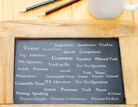 white English words on blackboard