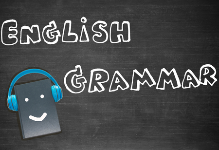 drawing english words and book on blackboard for background
