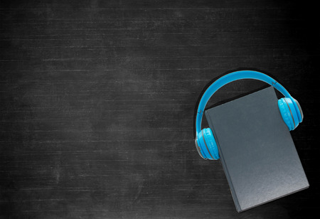 empty blackboard with book and headphone for background and design Stock Photo