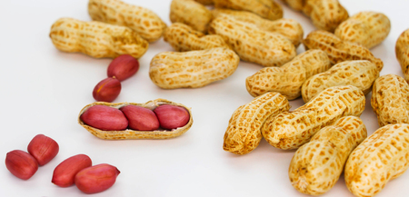 fresh red peanuts on white