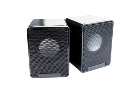 isolated computer speakers on white background Stock Photo