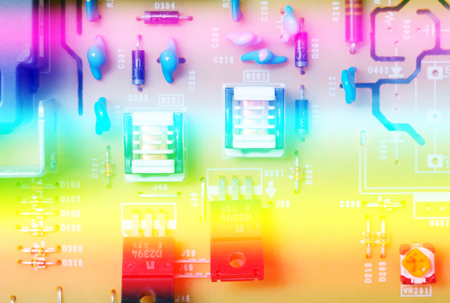 close up electronic circuit board with highlight Stock Photo