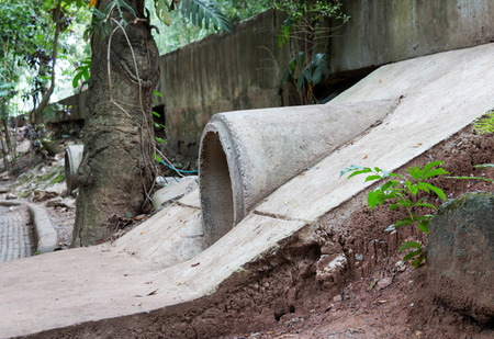 cement drain pipe under the road
