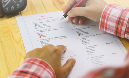 English multiple choice test on table Stock Photo