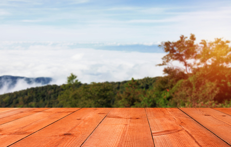 brown wooden board on mountain with blur clouds and forest
