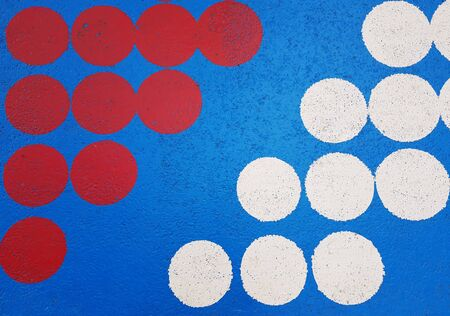 red and white dots on blue texture background