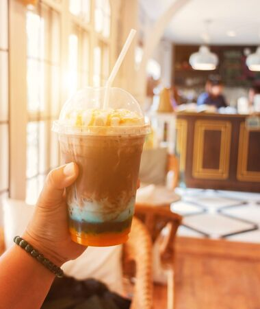 colorful cold coffee in coffee shop in summer