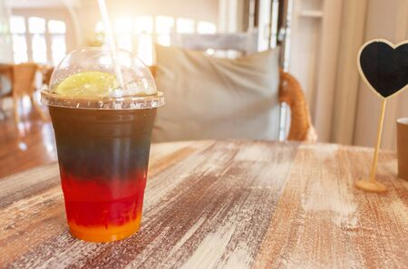 colorful cold drink in coffee shop in summer
