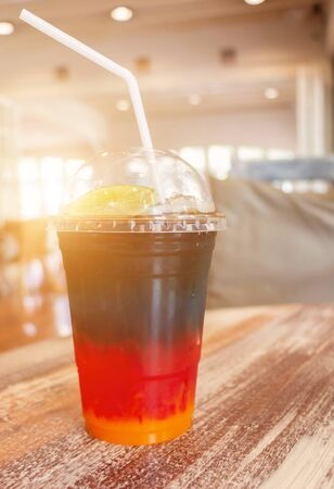 colorful cold drink  in coffee shop in summer Imagens