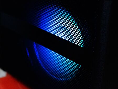 blue light from speaker at night in party Stockfoto