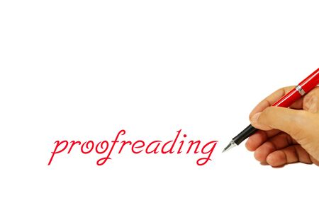 proofreading text on white and hand holding red pen with copy space represent concept of proofreading service