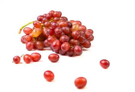 isolated bunch of red grapes on white background