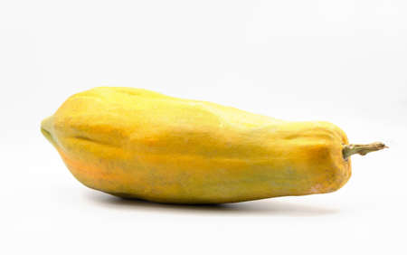 isolated whole fruit of ripe yellow papaya on white background 스톡 콘텐츠