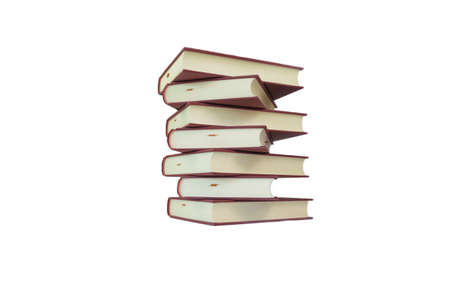 isolated stack of hardcover books on white background for design