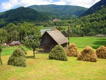 cottage fence: House and haystacks on the Carpatian mountains