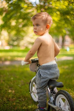 Little toddler boy sitting on bicycle and looking forward. Lifestyle family life. cycling.
