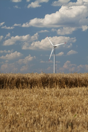 utilities: Wind power generator in a wheat field. Vertical shot with blue sky and clouds in the background. Stock Photo