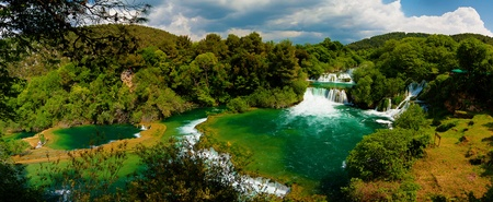 Panoramic HDR photo of waterfalls in Krka National Park in Croatia. photo