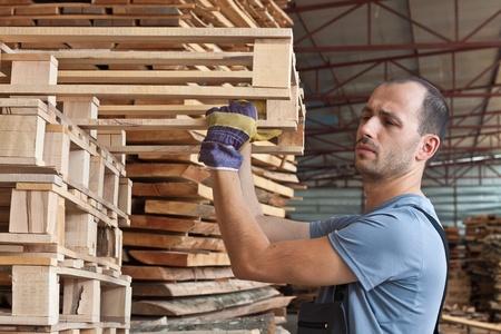 woodworker: Man arraging beech pallets in a warehouse, horizontal shot Stock Photo