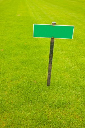 Green grass with a sign, vertical shot with copy space photo