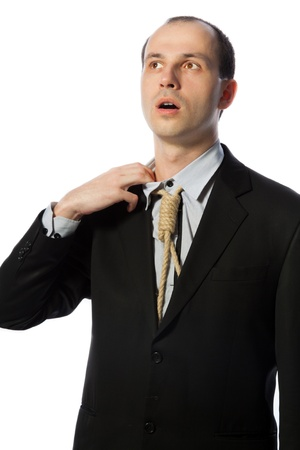 suffocate: Businessman with gallow tie taking a breath, vertical shot isolated on white