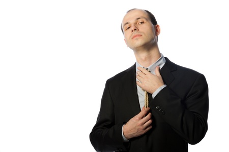 suffocating: Businessman with gallow tie, horizontal shot isolated on white