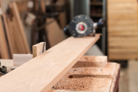 beech wood: Beech plank and a router Stock Photo