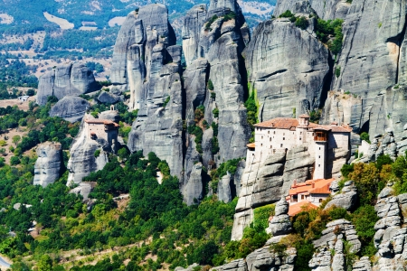 monasteries: Meteora Monasteries, Greece, horizontal shot
