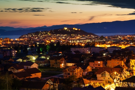 Night view of the city of Ohrid and the Samuil