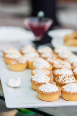 jam tarts: Cream tarts and jam, vertical shot Stock Photo