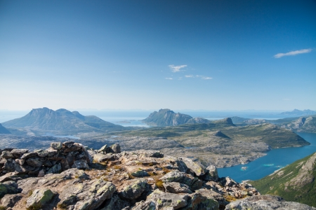 View with fjord and the sea from a peak in Northern Norway Standard-Bild