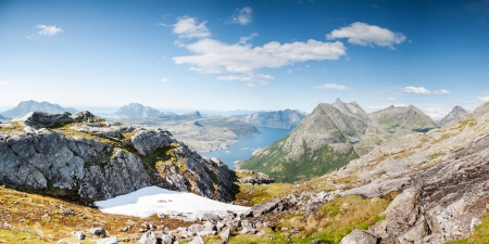 Panoramic shot of fjord and mountains in Northern Norway photo