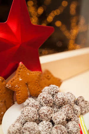 Christmas star, cookies and sweets photo