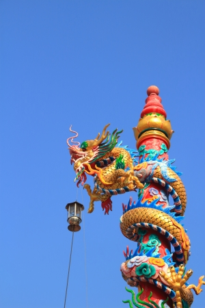 dragon statue climb the pole  photo