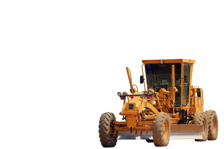 grader machine on white background photo