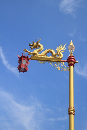 chiness: dragon statue and the chiness red lantern