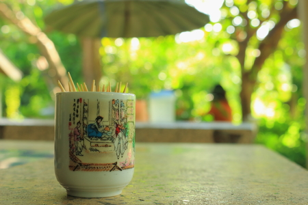 chiness: chiness cup with toothpick on the table