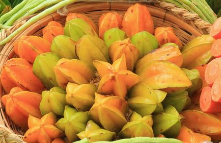 star fruit: star fruit on the basket Stock Photo