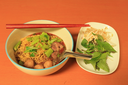 Egg Noodle with Thicken Soup and vegetable