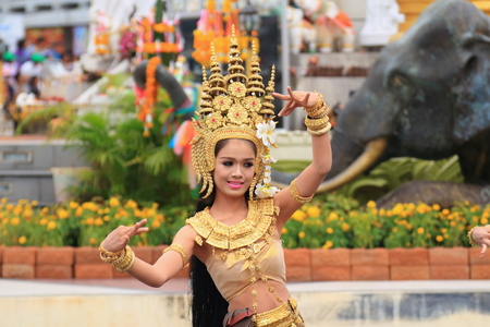surin: Surin, Thailand-November 14,2014: Apsorn dance in Welcom&Elephant Feeding party at area of statue of Phraya Surin Phakdi, Amphoe Mueang, Surin